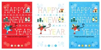 2016年申年年賀状用イラストカットデザイン素材「キラキラスケーター赤白青セット」HAPPYNEWYEAR