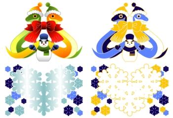 2013年巳年年賀状用イラスト素材(雪達磨とリボンマフラー2点)
