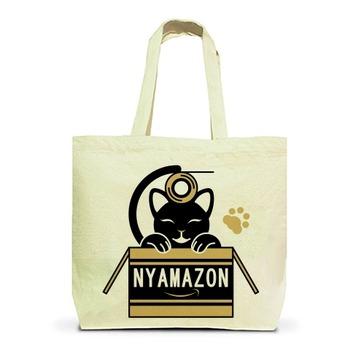 ガムテープで遊ぶ猫とNYAMAZONのダンボール(茶色) トートバッグL(ナチュラル)