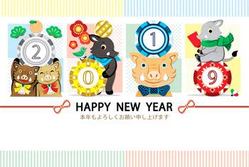 2019年亥年完成年賀状無料テンプレート(HAPPY NEW YEAR 2019/謹賀新年/イラストのみ)一般年賀状