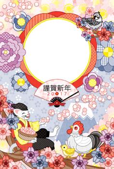 2017年酉年完成年賀状テンプレート「花咲か猫さんと鳥写真フレーム」謹賀新年
