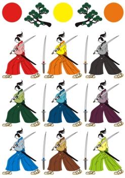 和風挿絵カットイラスト(侍と刀と松と日の丸)9色パターン