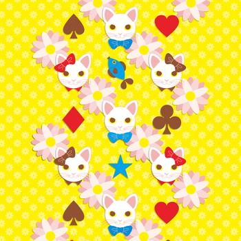 「リボン猫と蝶ネクタイ猫」iPad用壁紙(Retinaディスプレイ対応2048×2048PNG)