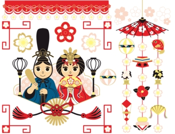 3月3日桃の節句雛祭り用イラストカットデザインイメージ素材(カラフル)