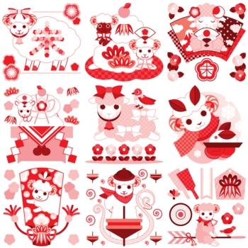 2015年未年年賀状用イラストカットデザイン素材集(縁起物とひつじのキャラクター)赤ピンク系9点