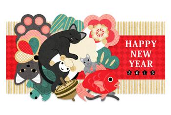 2015年未年完成年賀状テンプレート「猫専用羊&縁起物クッションHAPPYNEWYEAR」一般年賀状