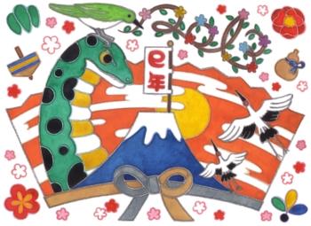 2013年巳年年賀状用イラスト素材(富士山鶴鶯2013)