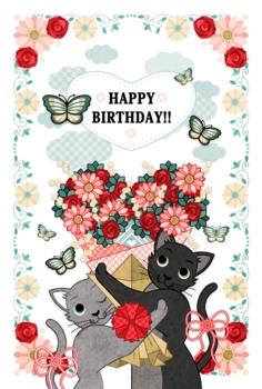 【バースデーカード】HAPPY BIRTHDAY!!(猫とハート花束)