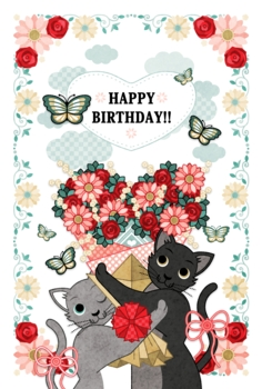 HAPPY BIRTHDAY!!(猫とハート花束)