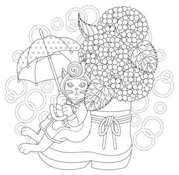 無料ぬりえ用線画(紫陽花と蝸牛)