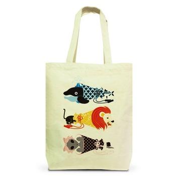 動物メガホン…魚・猫・女子(ANIMAL MEGAPHONE A FISH,A CAT,A WOMAN.) トートバッグM(ナチュラル)