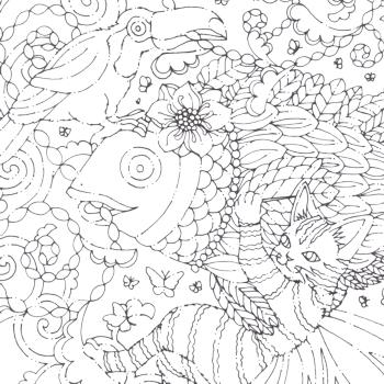 「鳥(オニオオハシさん)と猫と魚」線画