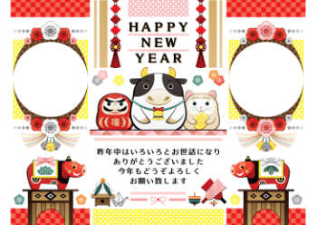 year of the ox illustration new year's card greeting post card design cow tumbling doll and red bull frame happy new year