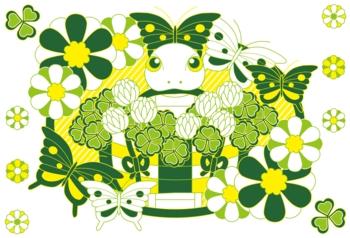 2013年巳年年賀状用イラスト素材(クローバー黄緑)