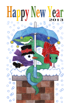 2013年巳年完成年賀状テンプレート(雪宿りHappyNewYear)