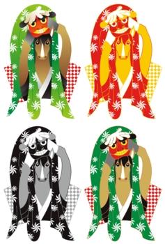 2014年午年年賀状用イラスト素材(獅子舞馬)デジタル4点セット
