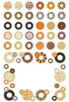 お菓子「ドーナッツ」アイコン飾り枠イラスト素材集