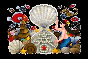 人魚と春(黒地)(2012年辰年年賀状用イラスト素材)