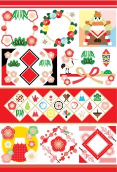 【1月】お正月年賀状用和風イラストカットデザインイメージ素材集(縁起物)赤系カラフル/Japanese style New Year's illustrations