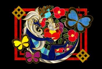 椿・蝶・龍&タツノオトシゴ(黒地)(2012年辰年年賀状用イラスト素材)
