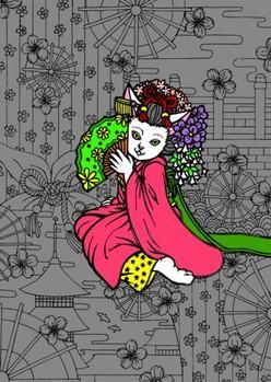 0080京都の舞妓猫c ベタ塗り