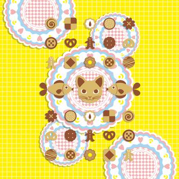 「猫と魚のクッキー」iPad用壁紙(Retinaディスプレイ対応2048×2048PNG)