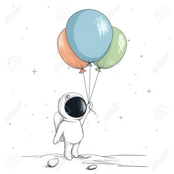 78694984-かわいい宇宙飛行士続ける風船