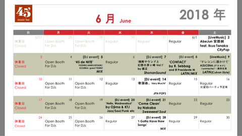 Monthly schedule: June, 2018
