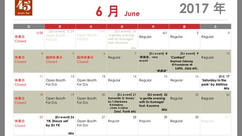 "Info: monthly schedule ""June"""