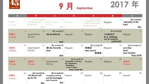 Monthly schedule: September