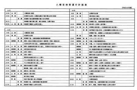八幡宮例大祭運行計画表