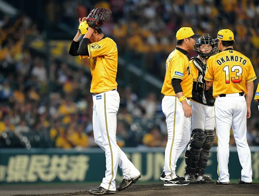 阪神先発・藤浪がプロ最短1/3回で降板。降雨で試合開始遅れのアクシデントも