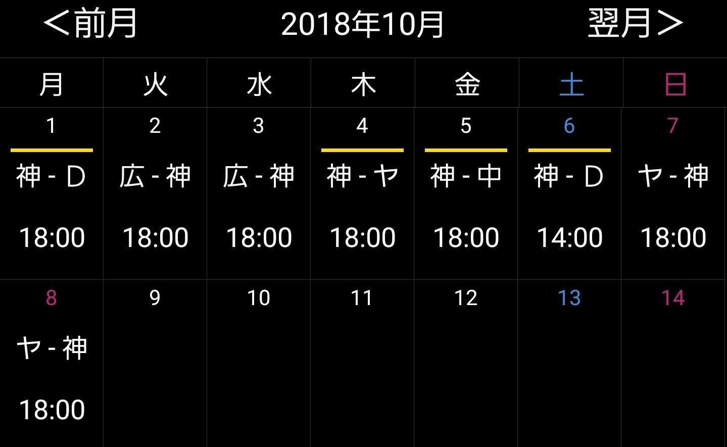 阪神の残りの日程ww