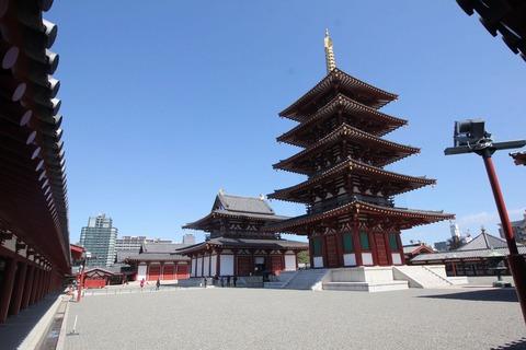 回廊内から中心伽藍(五重塔,金堂,講堂)