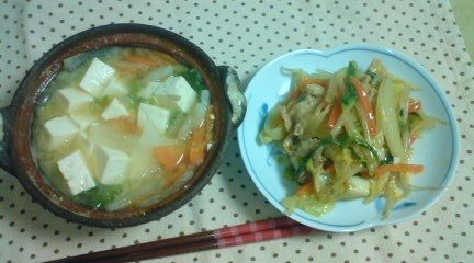 土鍋味噌汁中華炒め