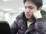 Office検定対策中の松本くん(情報処理科1年)