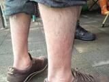 足湯に浸かった跡がしっかりと残っていますポカポカ