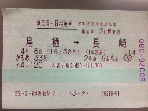 特急券乗車券