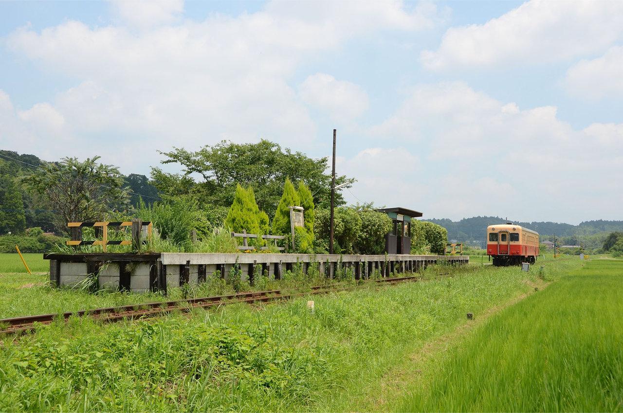 夏の無人駅 : 線路の向こうの写...