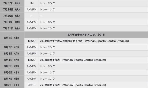 2015EAFF女子アジア杯