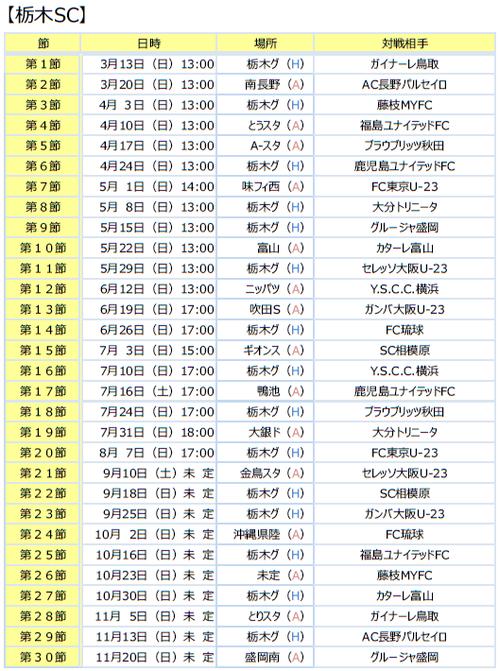 日程2016 栃木SC