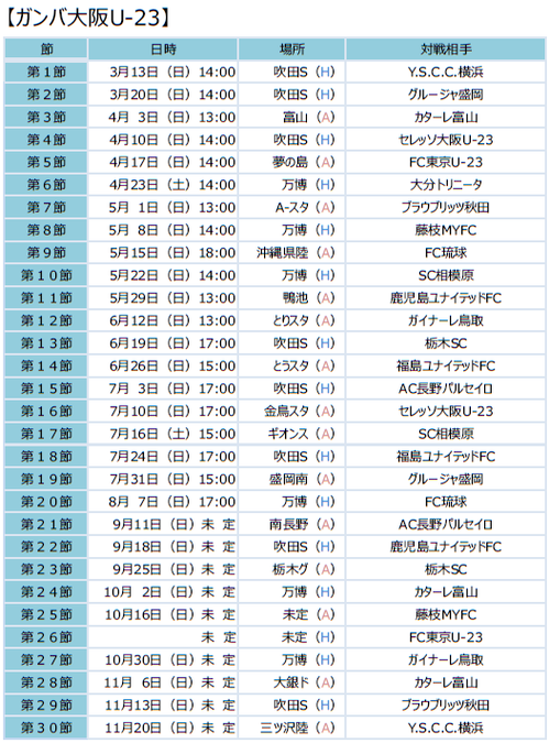 2016 ガンバ大阪U-23日程