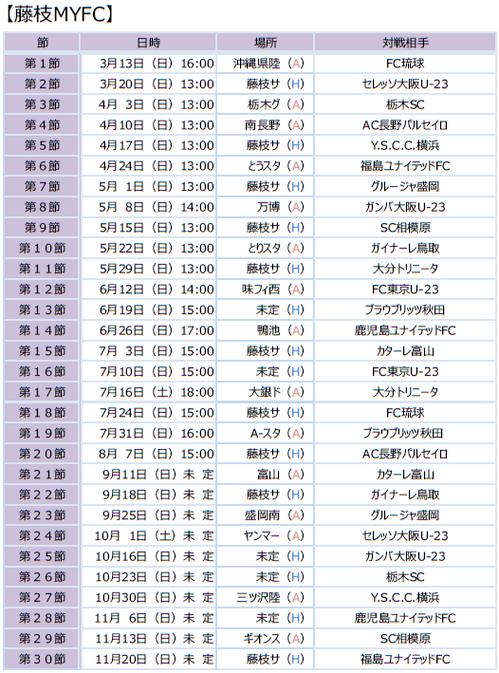 2016 藤枝MYFC日程