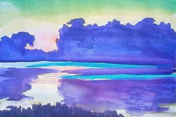 水彩画家・長尾周二・作品写真・ブルターニュの海岸