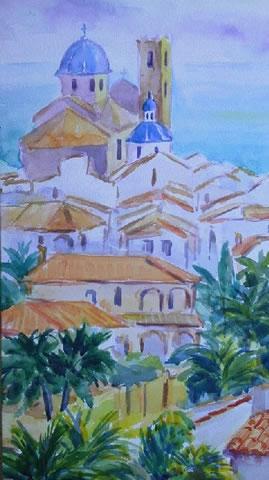 水彩画家・長尾周二・バレンシアでの作品写真120302