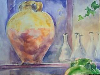 水彩画家・長尾周二・プロバンスの古い壺