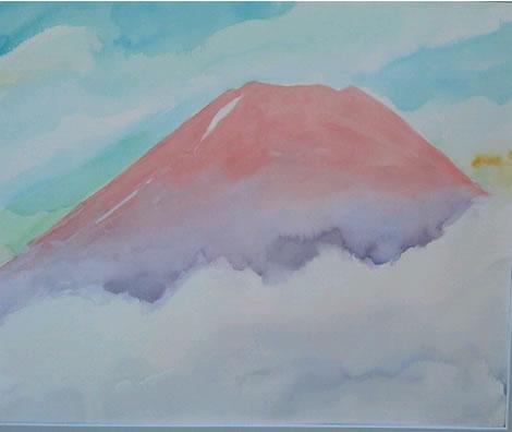 水彩画家・長尾周二・作品「富士山」写真