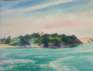 水彩画家・長尾周二作品写真・ブルターニュの海岸線