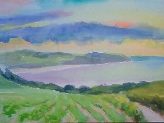 水彩画家・長尾周二・ドーバー海峡が望める丘