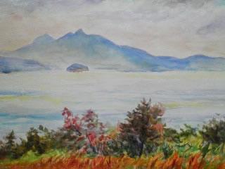水彩画家・長尾周二・作品写真・大串半島からの小豆島